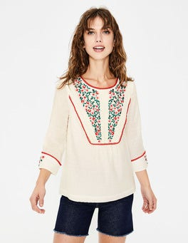 Ivory Kelsey Embroidered Blouse