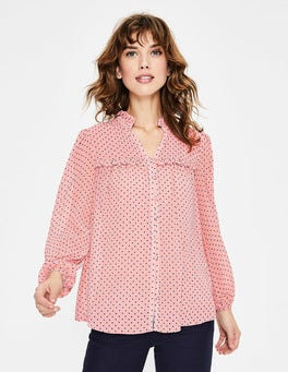 Chalky Pink Flocked Spot Anya Blouse