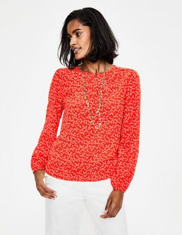 Red Pop Daisy Sprig Veronica Blouse
