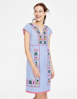 Cabin Blue Ticking Stripe Bea Linen Embroidered Dress