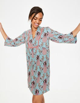 Heron Blue Tropical Fruit Evangeline Linen Tunic