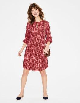 Knalliges Rot, Verstreute Früchte Vanessa Kleid