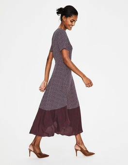 Navy Colourblock Spot Renee Midi Dress