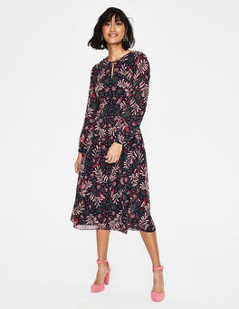 Navy Tropical Jungle Ada Midi Dress
