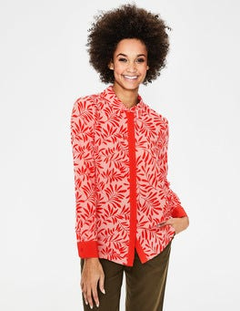 Chalky Pink & Red Olive Branch Silk Shirt