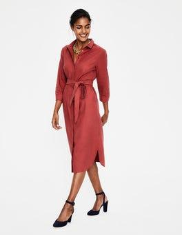 Rot Freya Hemdblusenkleid aus Leinen