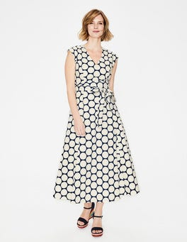 Ivory & Navy Brand Spot Tori Midi Dress