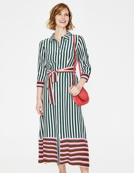 Woodland Green Stripe Mallory Midi Shirt Dress