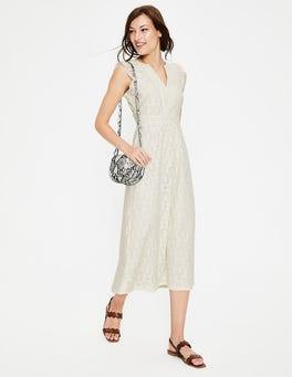 Ivory Hallie Broderie Midi Dress