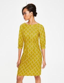 Dijonsenfgelb, Geometrisches Früchtemuster Kate Leinenkleid