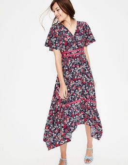 Navy Exotic Garden Holly Hanky Hem Midi Dress