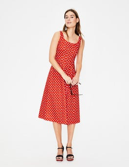 Red Pop Spot Star Sabina Midi Dress