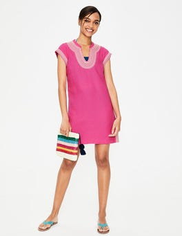 Pink Yasmin Embroidered Linen Tunic
