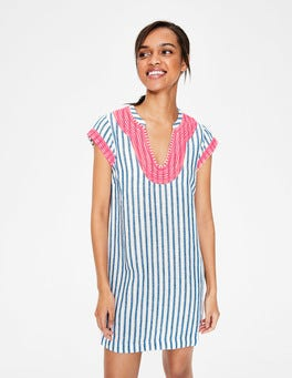 Ivory & Cyan Stripe Yasmin Embroidered Linen Tunic