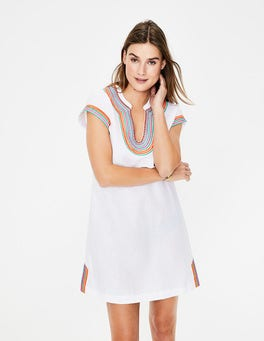 White Yasmin Embroidered Linen Tunic