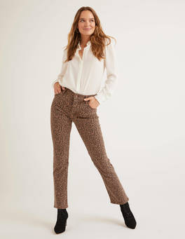 Gerade Jeans mit Leopardenmuster