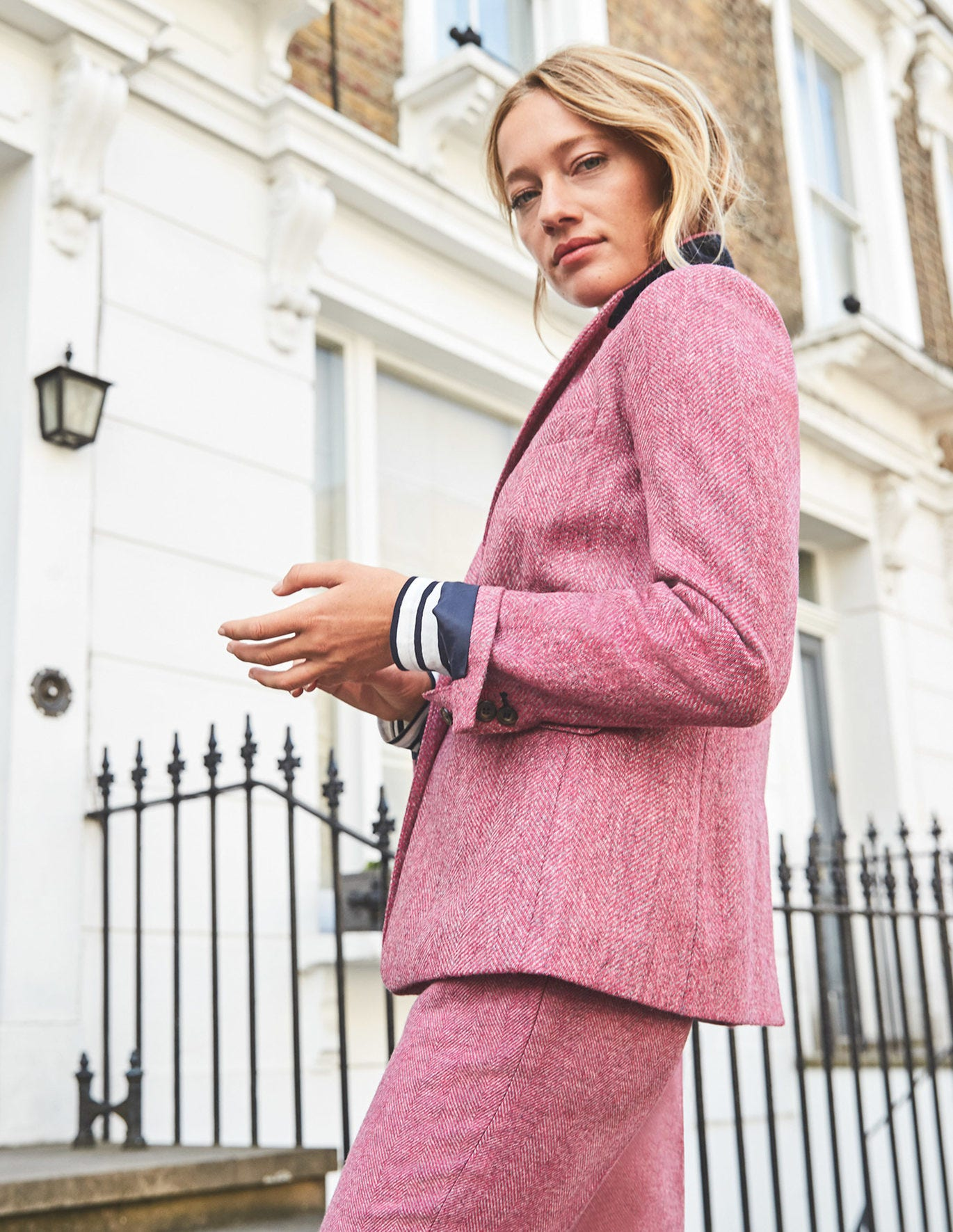 Bath British Tweed Blazer - Pink Herringbone T0176-LPK