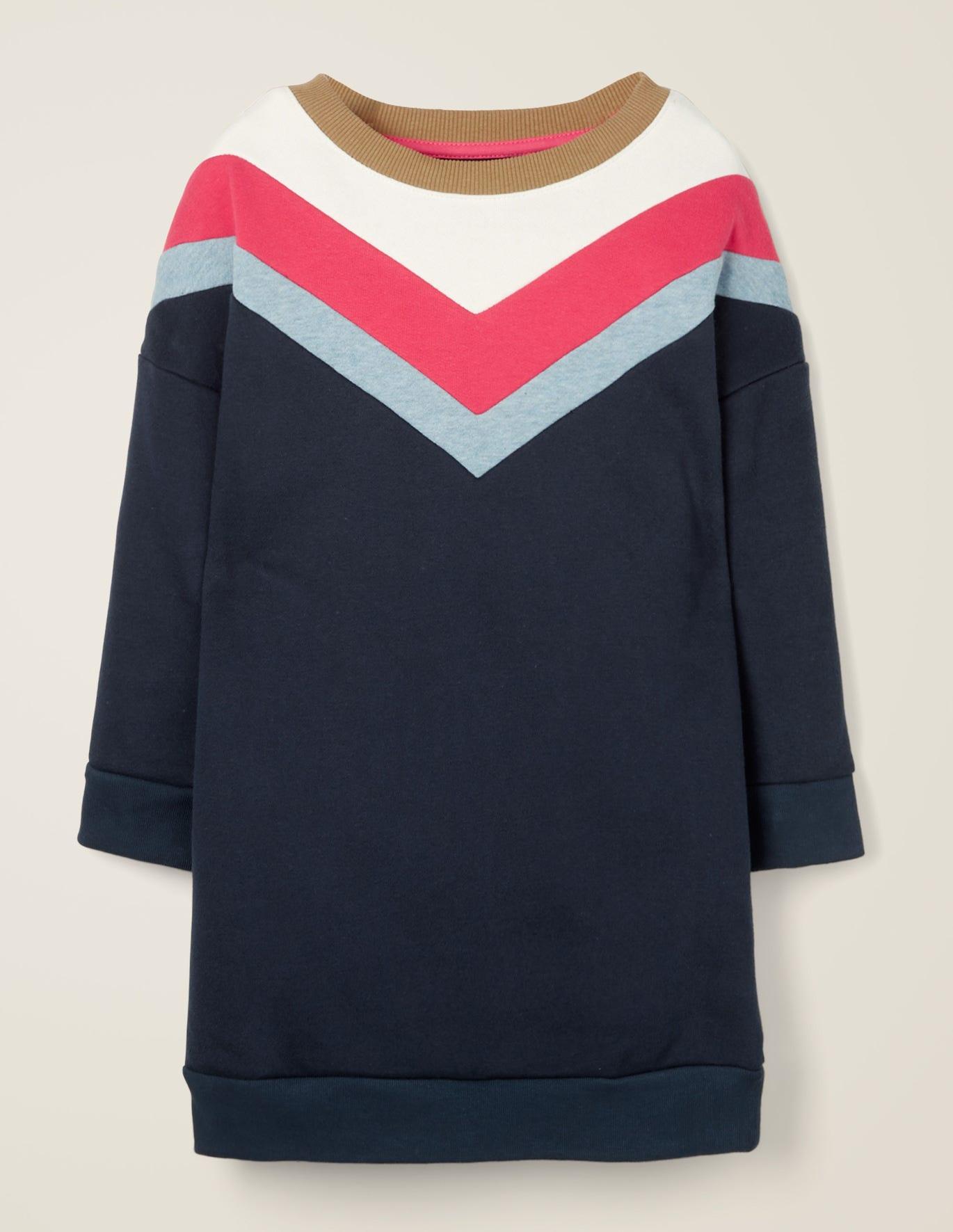Sporty Chevron Jersey Dress - College Blue