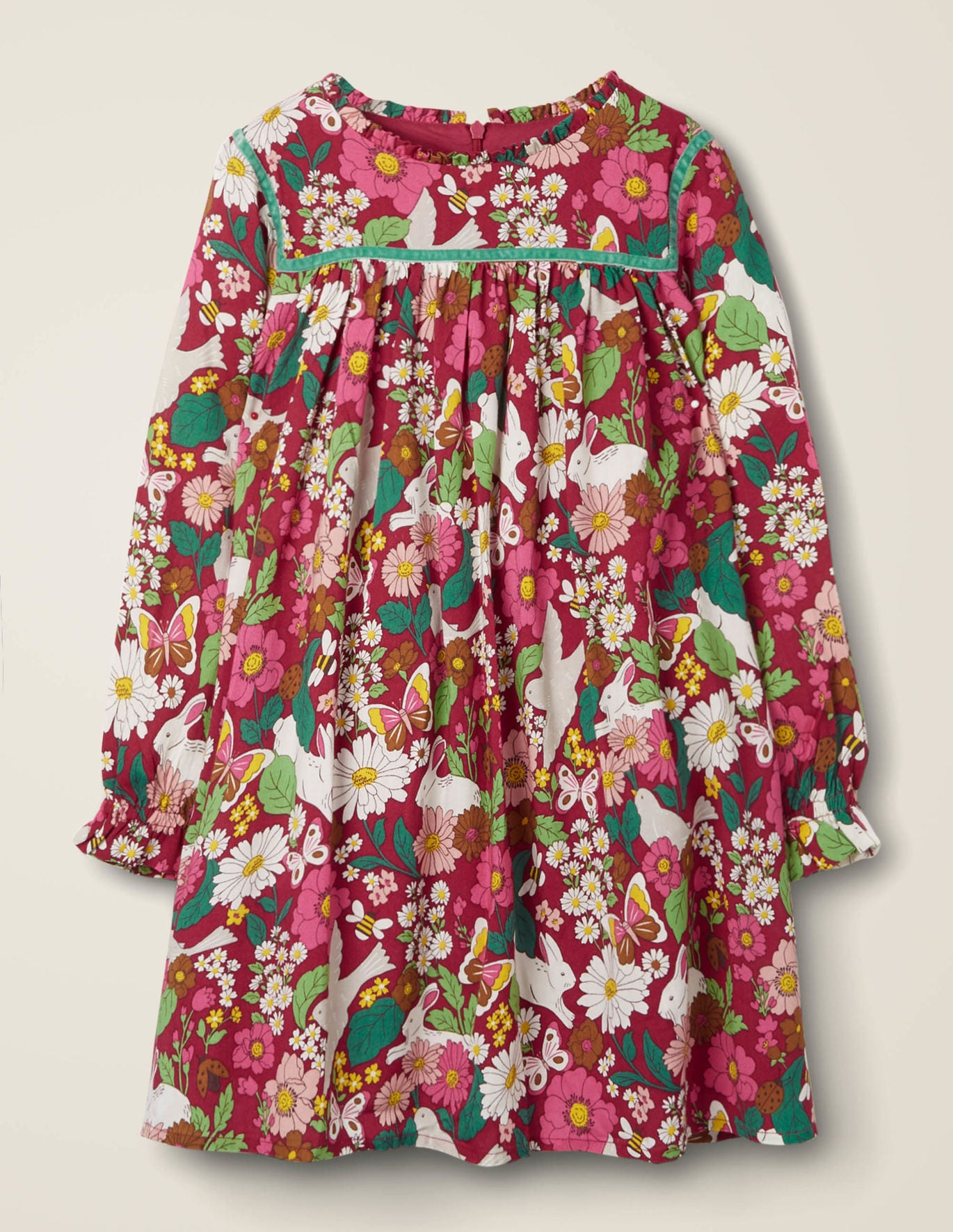 Frill Neck Printed Dress by Boden