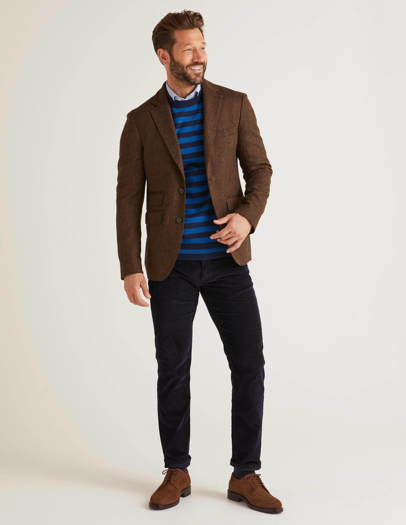 Middleham Tweed Blazer - Brown Herringbone