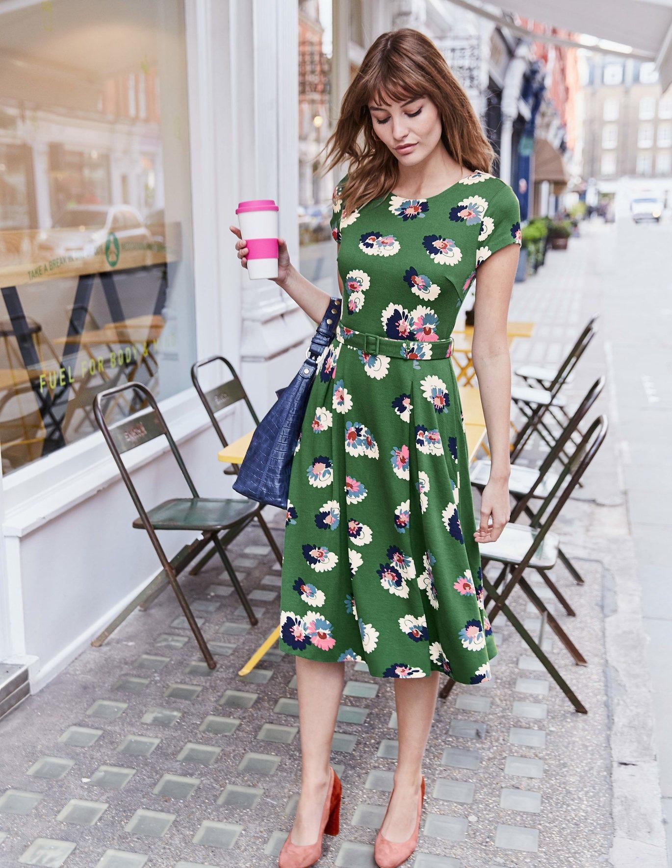 Aida Ponte Dress - Broad Bean, Painted Daisy
