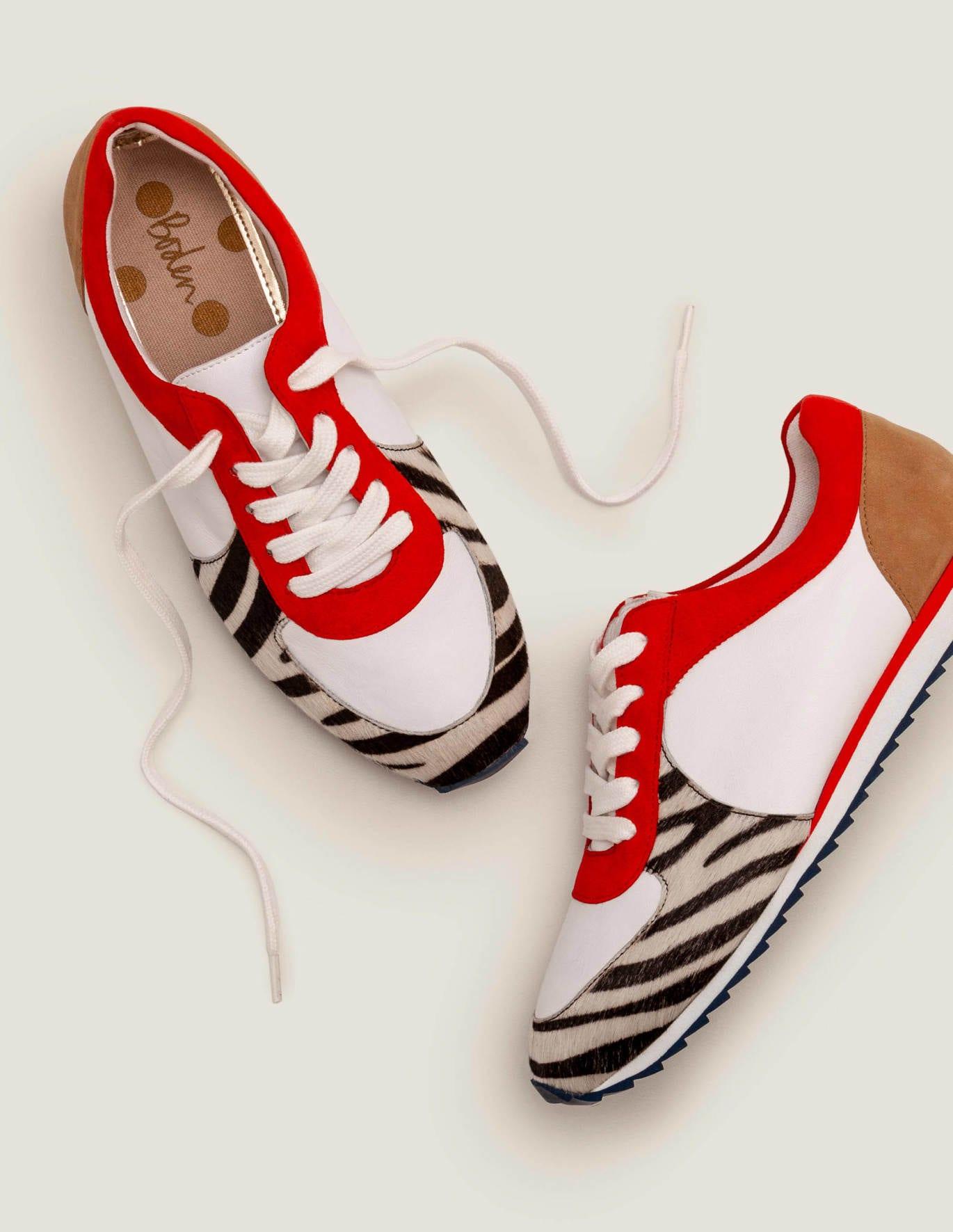 Elise Trainers - Zebra/Post Box Red