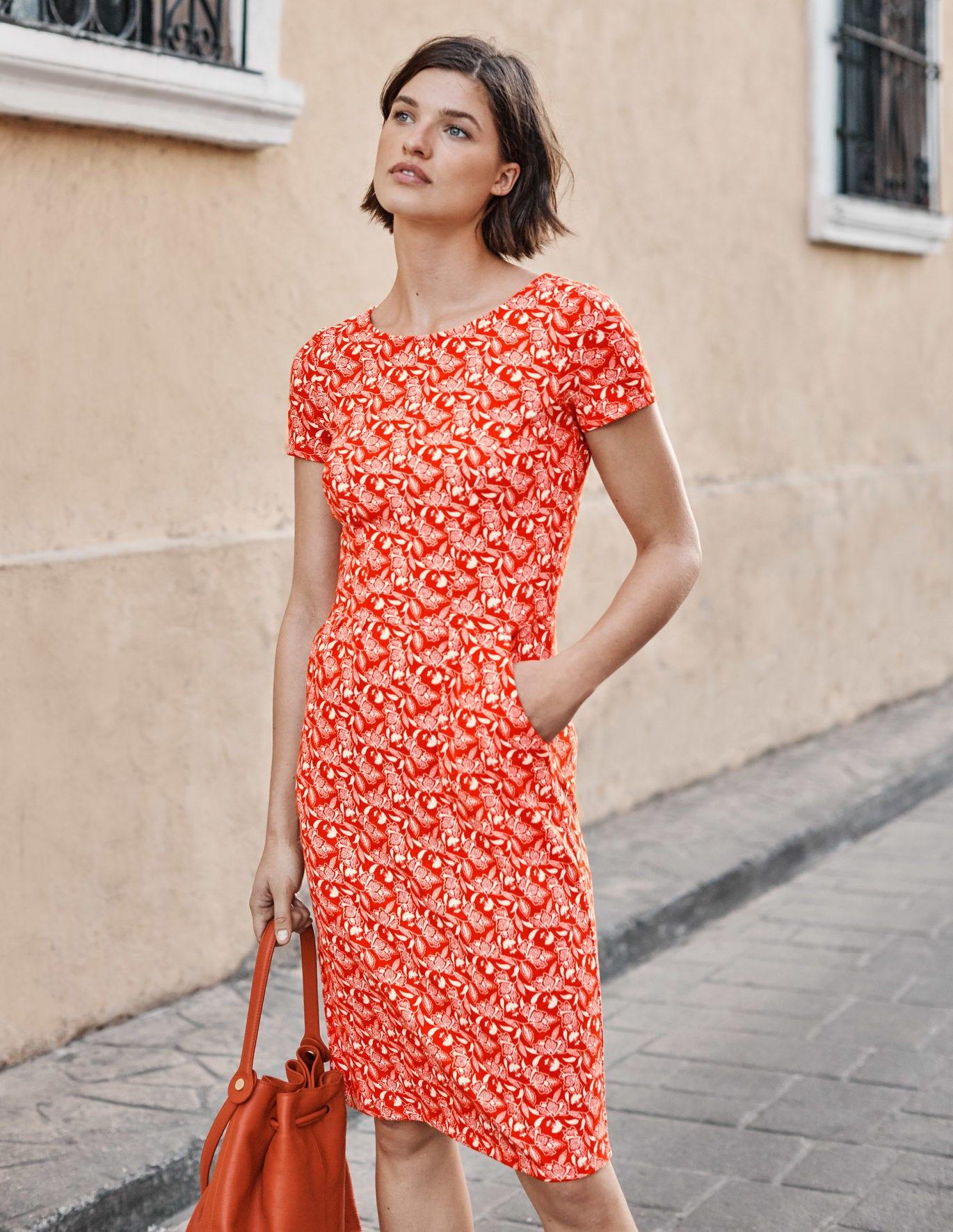 Phoebe Jersey Dress - Orange Sunset, Jungle Bloom