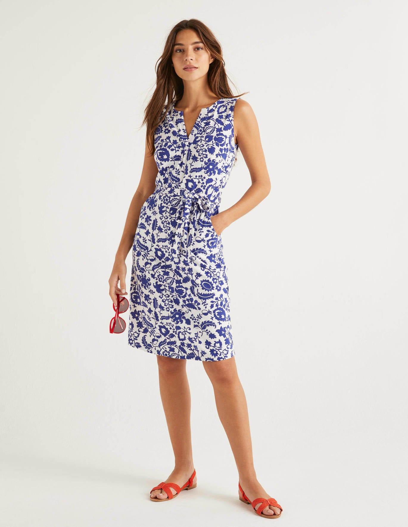 Vanessa Jersey Dress - Blue, Tropical Retreat