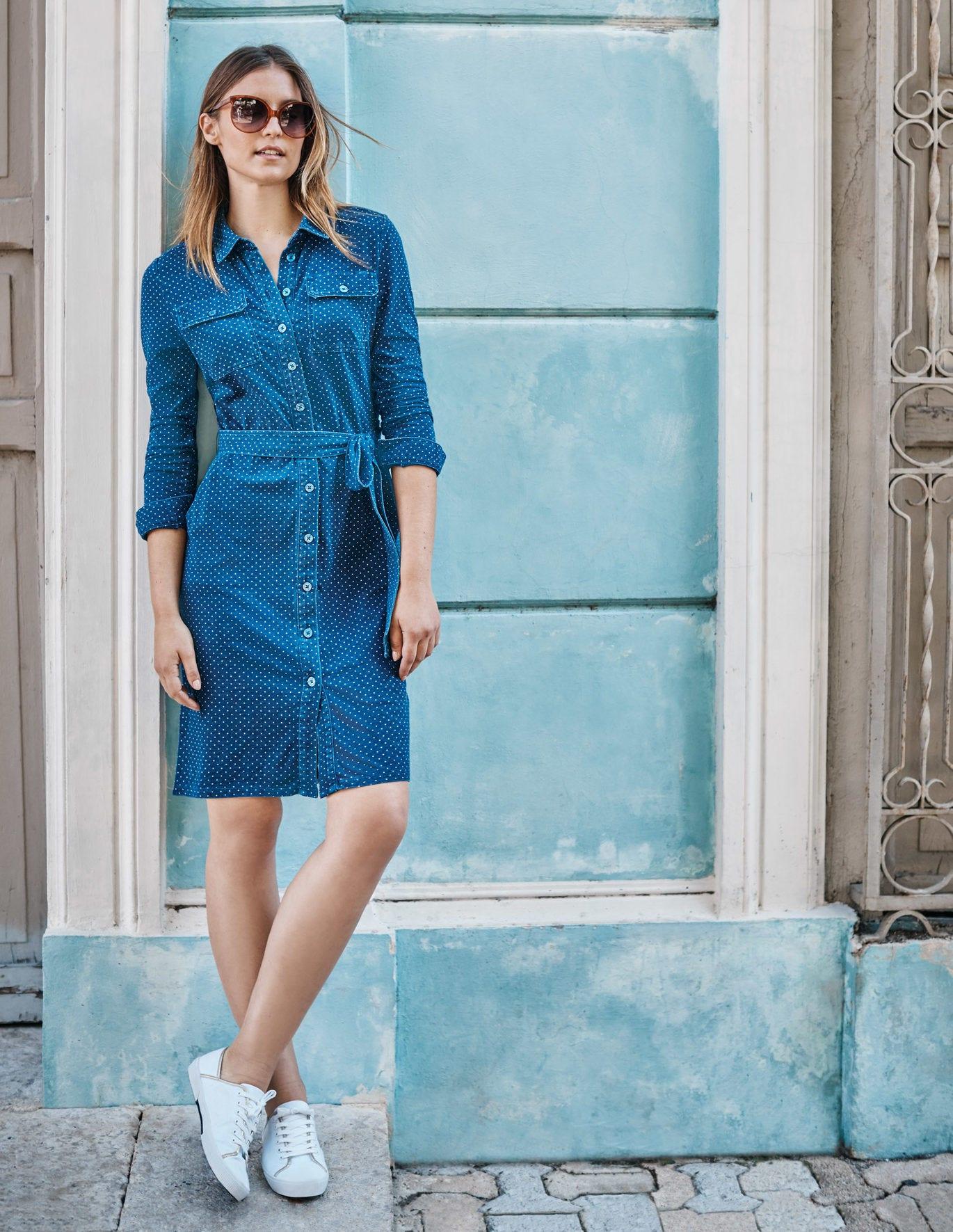 Rowena Jersey Shirt Dress - Mid Blue, Spot