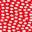 Knalliges Rot/Naturweiß, Punkteaufdruck
