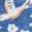 Meerblau, Vogel-/Blumenmuster