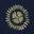 Bleu marine et doré, motif Stamp Block