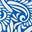 Kräftiges Blau, Geschwungenes Farnmuster