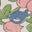Bunt/Vintageblau, Blumen/Häschen