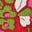 Motif floral vintage rouge rockabilly