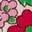 Naturweiß, Vintage-Blumen/Rotkehlchen