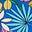 Bleu des cimes, motif Jungle Floral