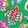 Baumgrün, Kaleidoskop-Blumenmuster