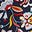 Navy, Kaleidoskop-Blumenmuster