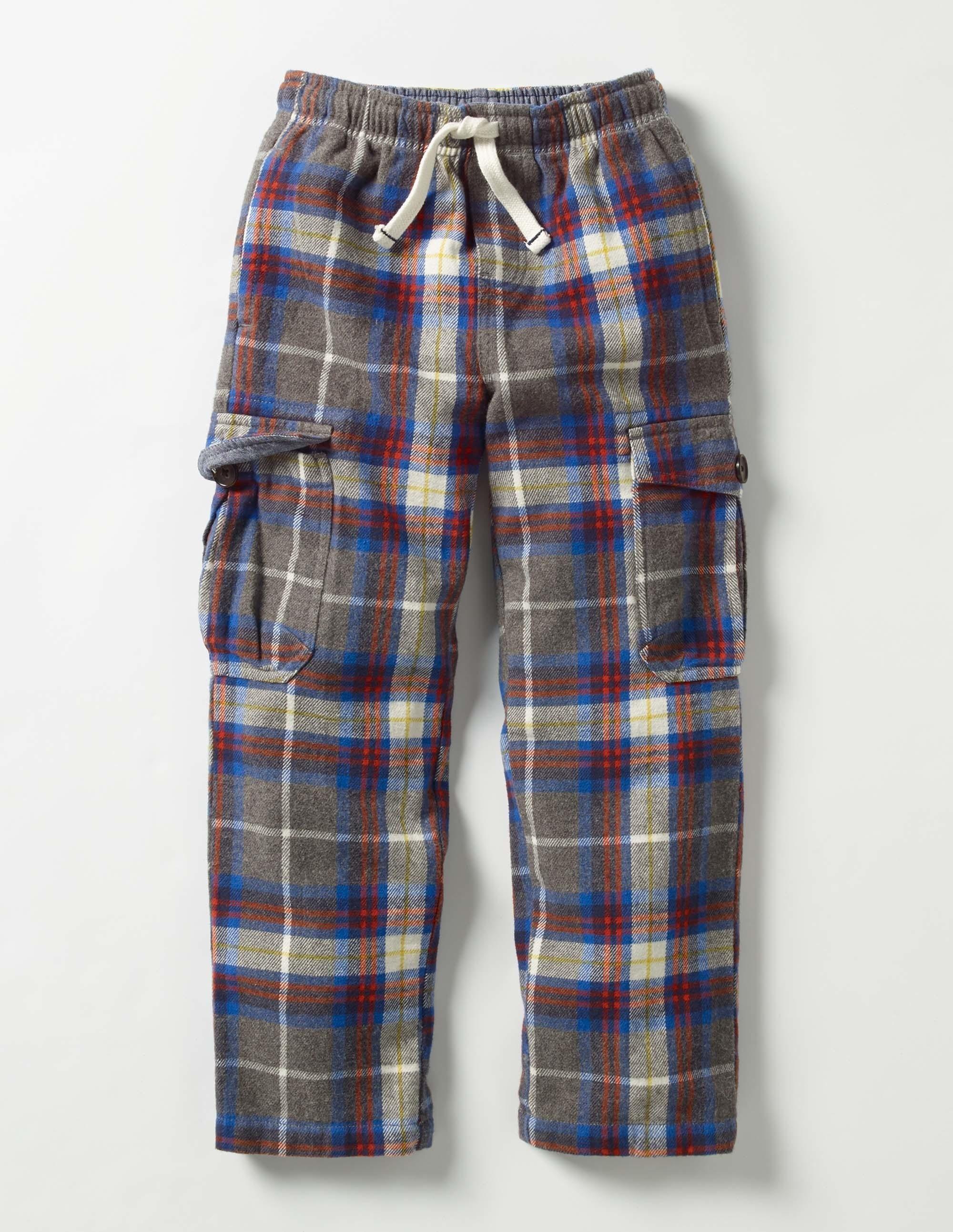 Pantalon cargo écossais en coton brossé Gris Chiné/Carreaux Épicés Garçon Boden