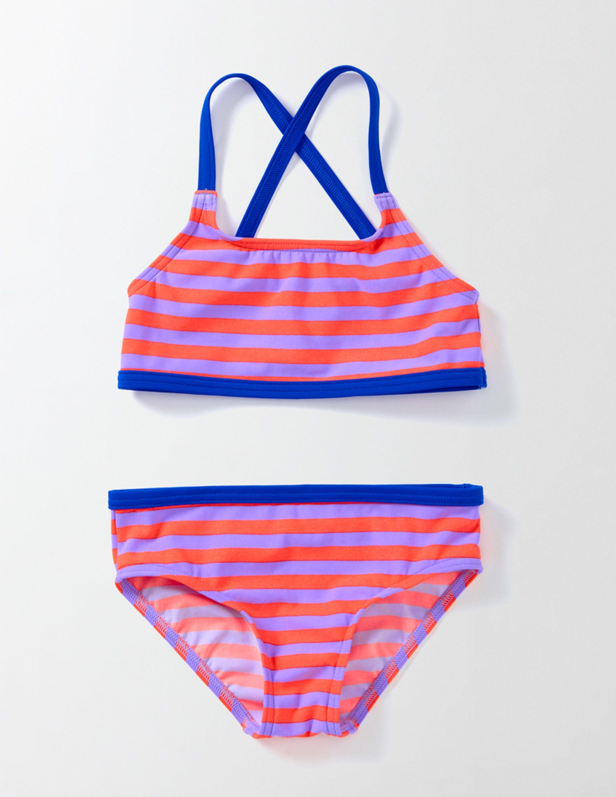 Bikini Poisson-dans-l'eau Rayé Violet/Fluo Fille Boden