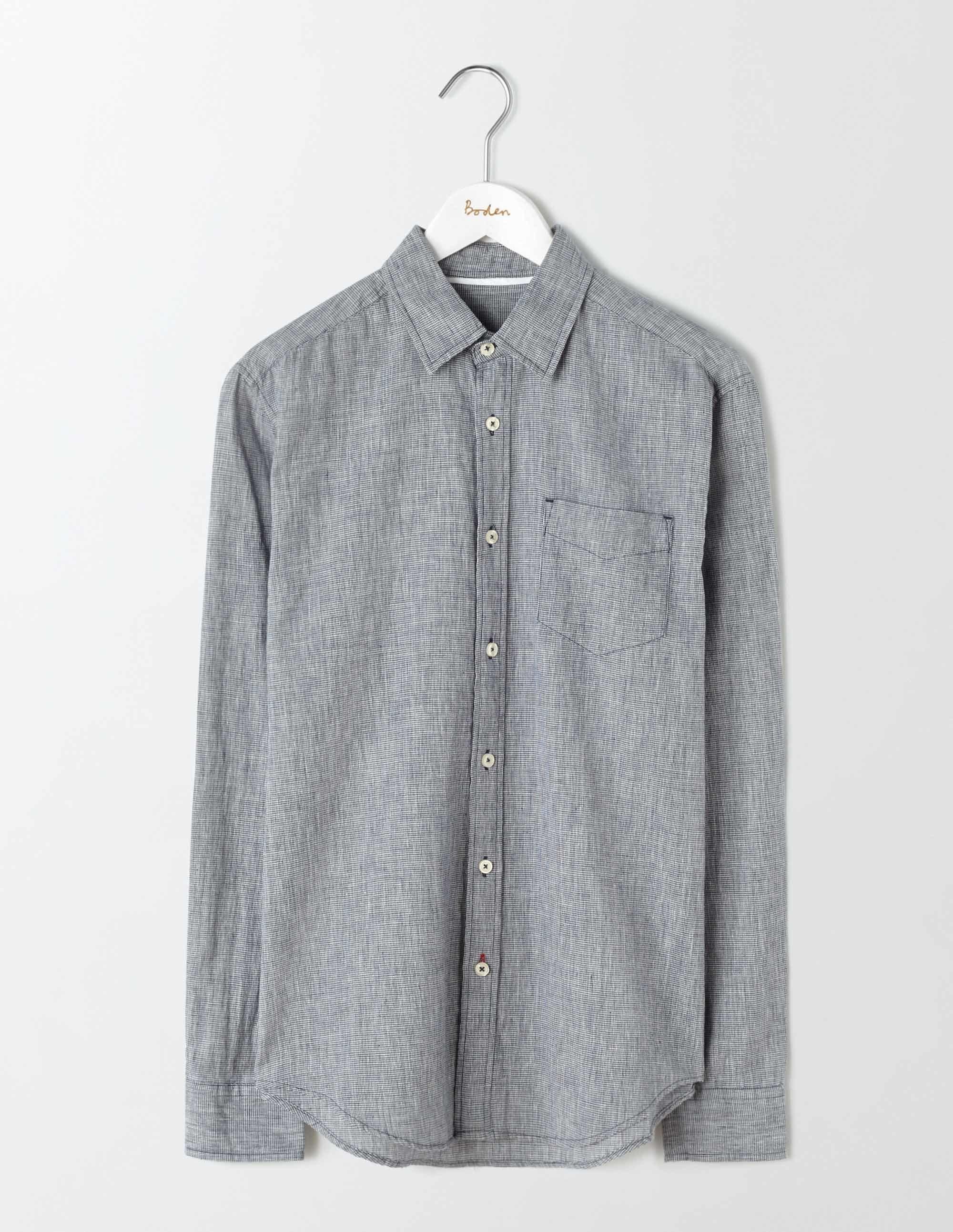 Chemise coton/lin à motifs Pied de Poule Bleu Marine Homme Boden