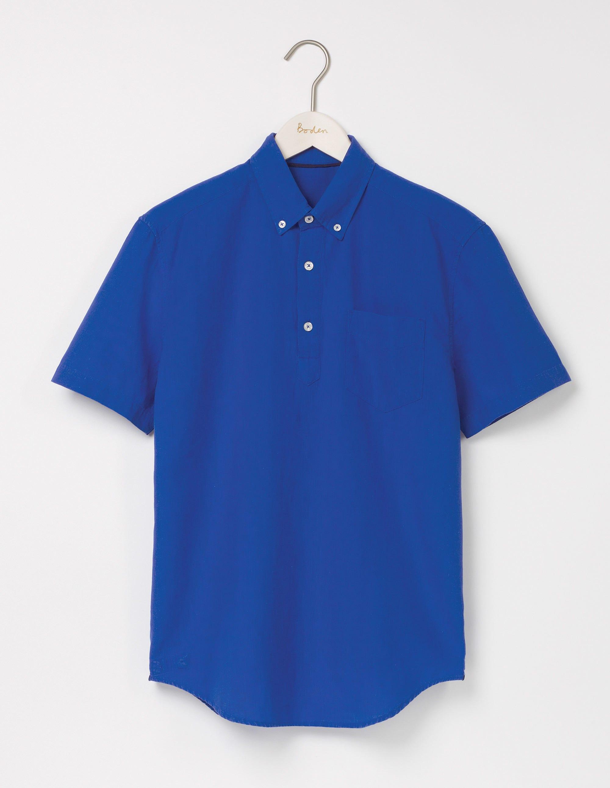 Chemise coton et lin à enfiler Blue Homme Boden