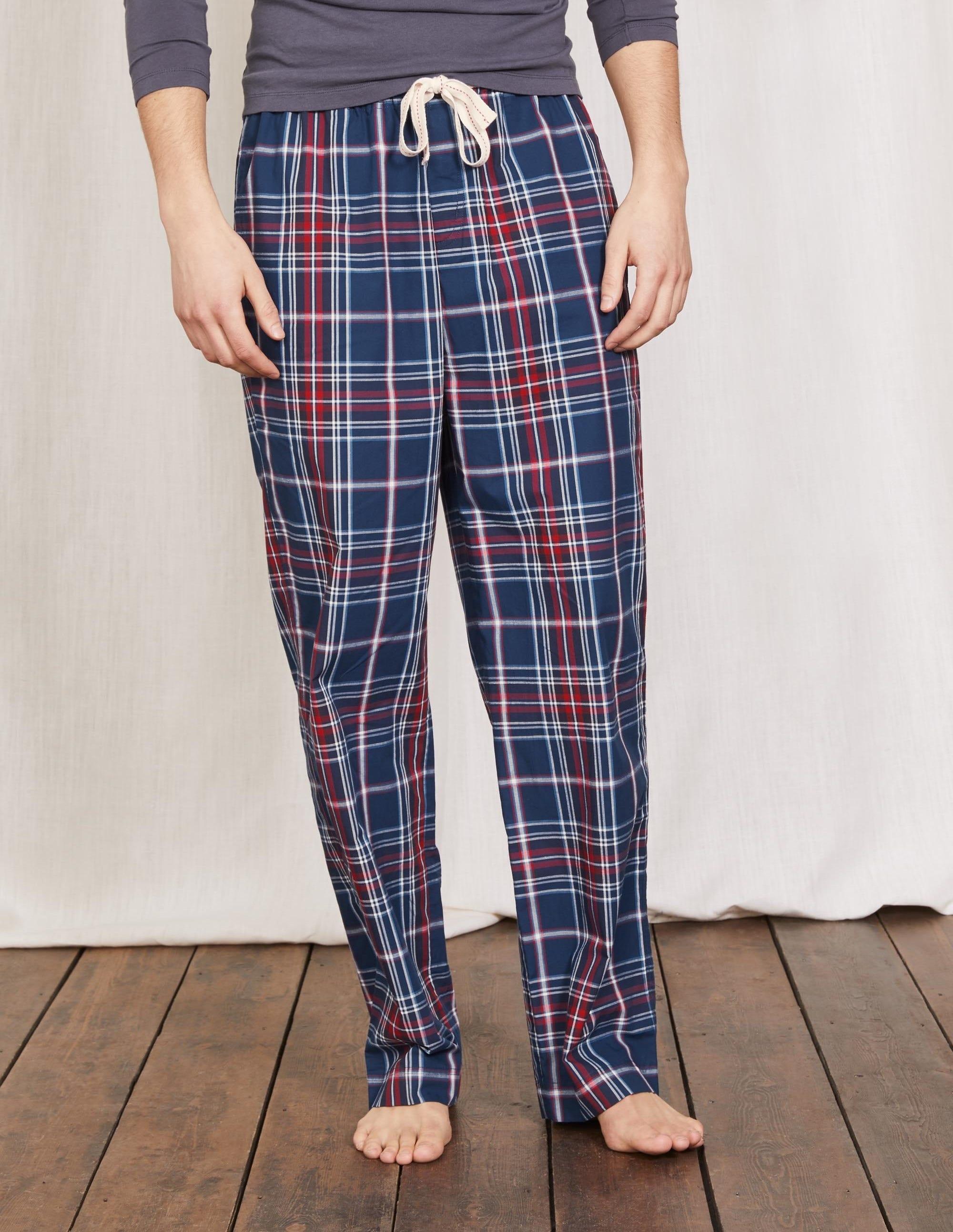 Pyjamahose aus Baumwollpopeline Navy Herren Boden