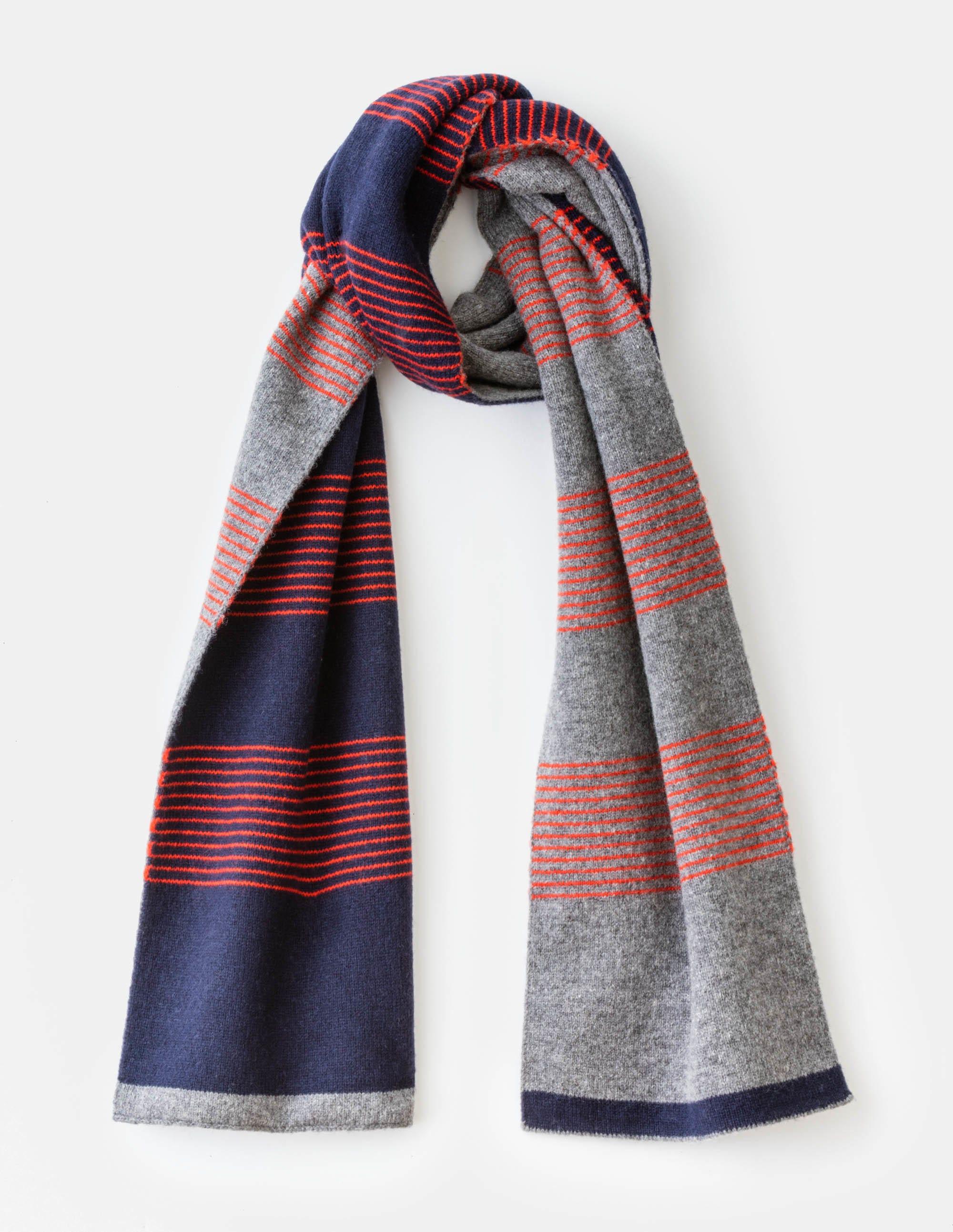 Schal aus Schurwolle Navy Herren Boden