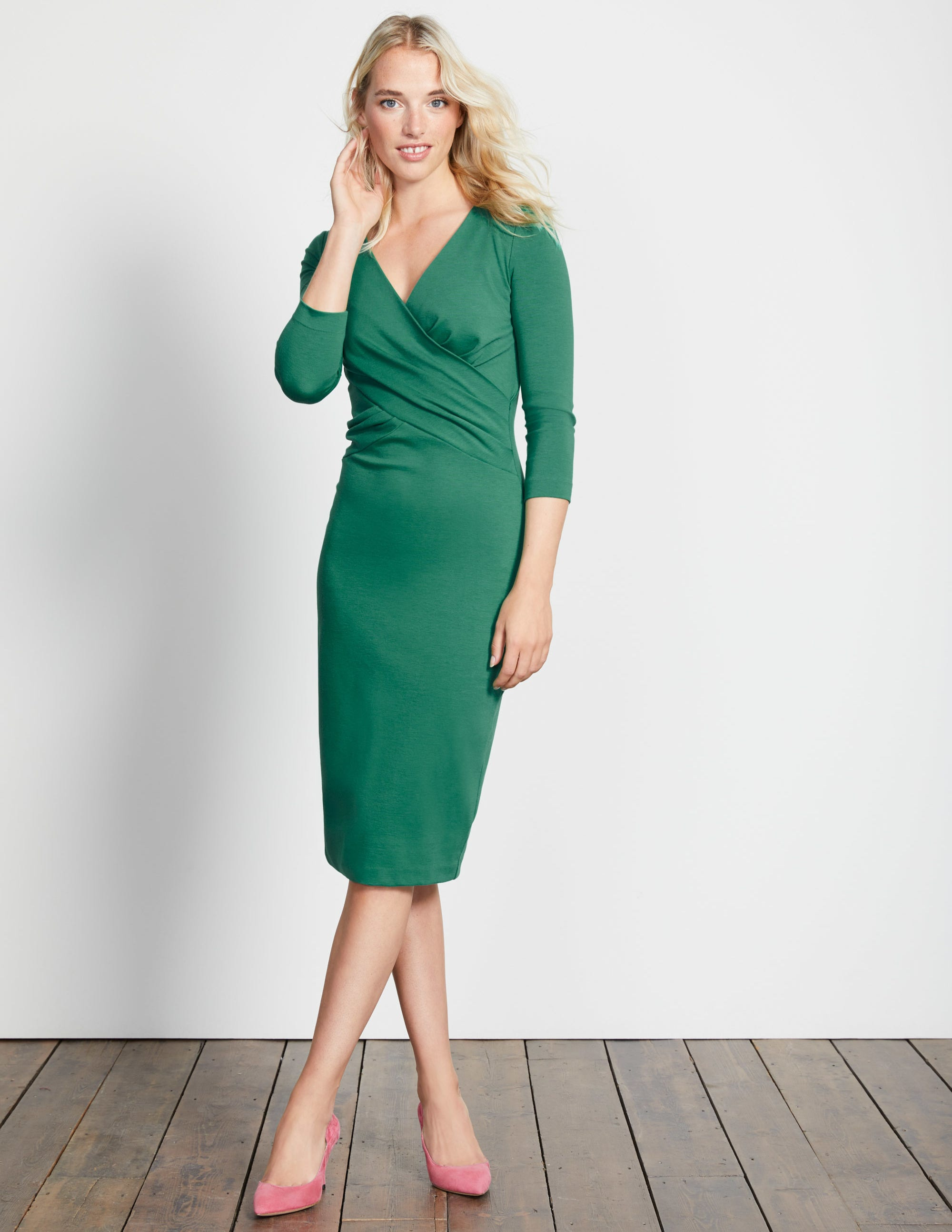 Robe Connie en point de Rome Green Femme Boden