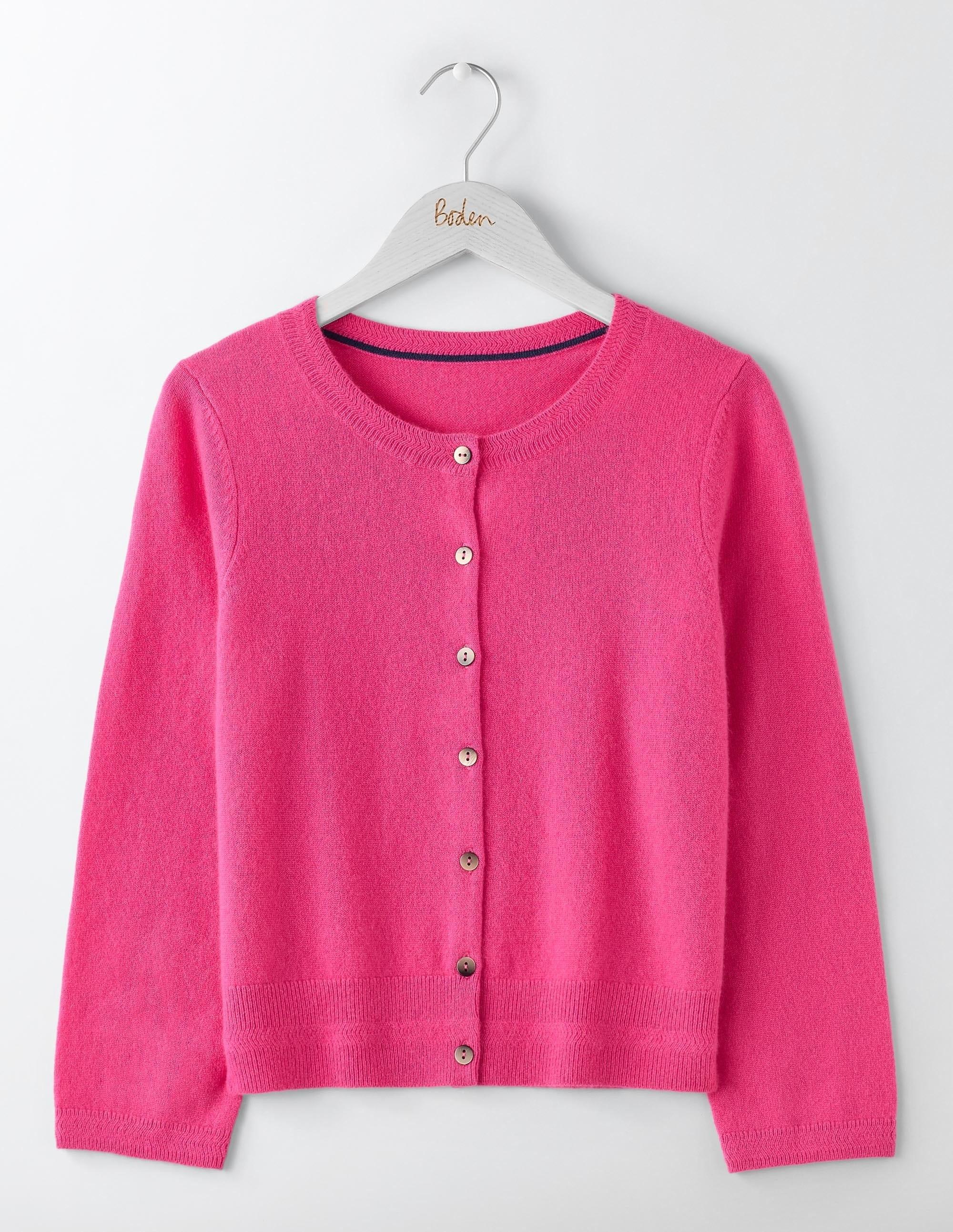 Kurzer Kaschmircardigan mit Rundhalsausschnitt Pink Damen Boden