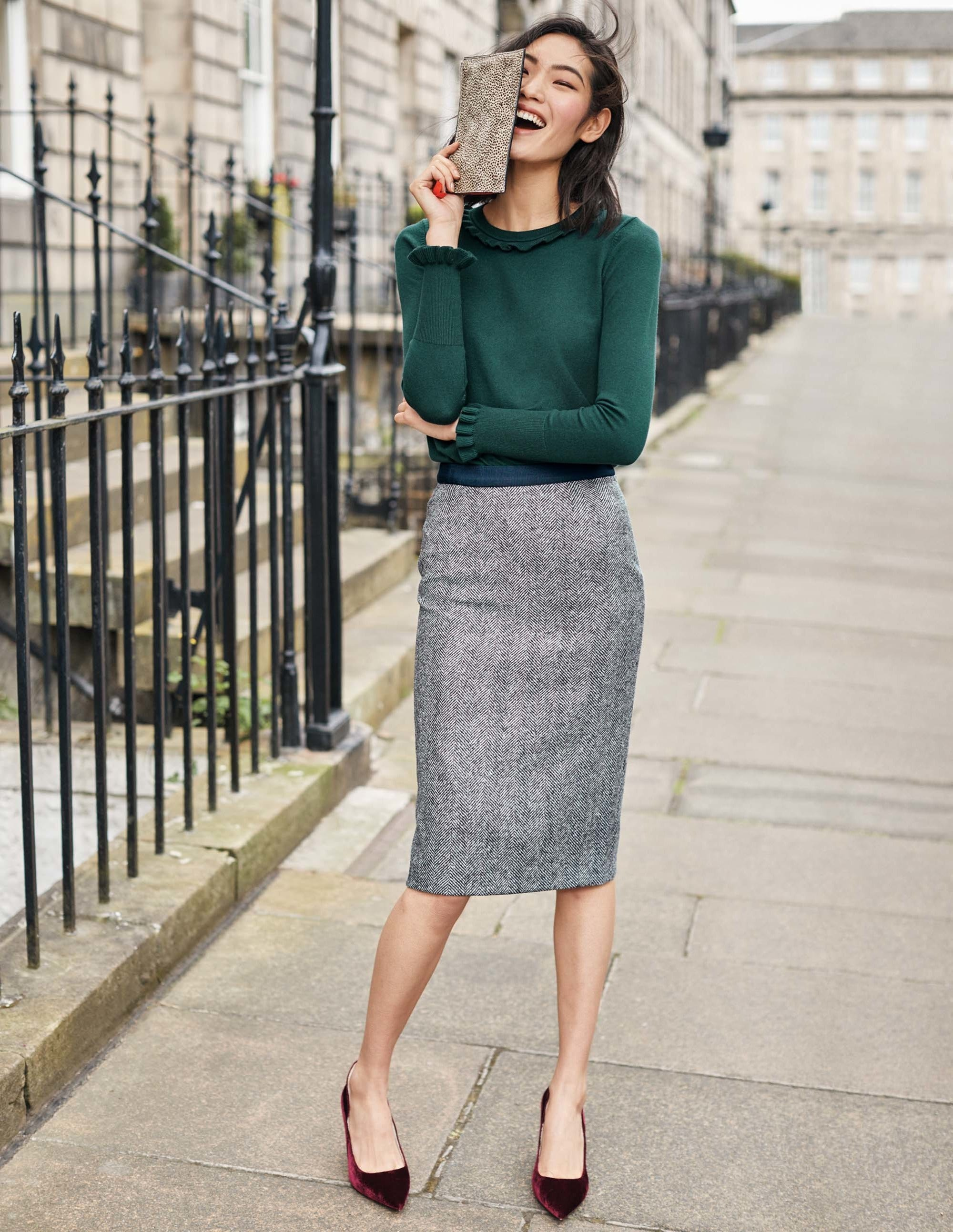 78bdef23d British Tweed Pencil Skirt - Navy and Ivory Herringbone | Boden US