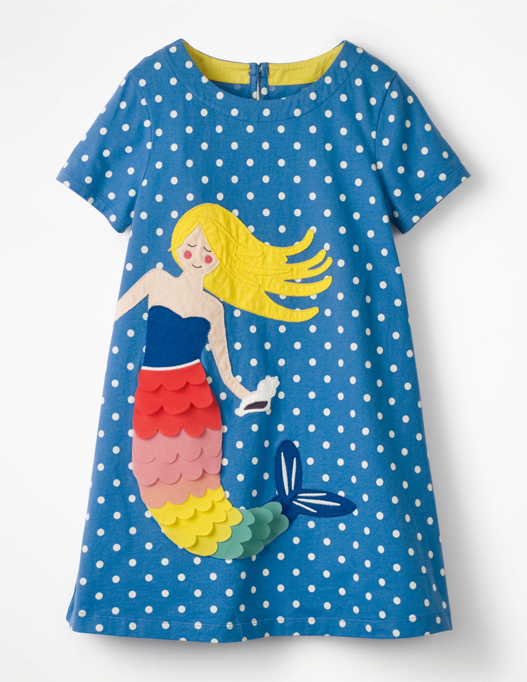 8417e30000 Holiday Applique Dress - Skipper Blue Spot Mermaid   Boden UK