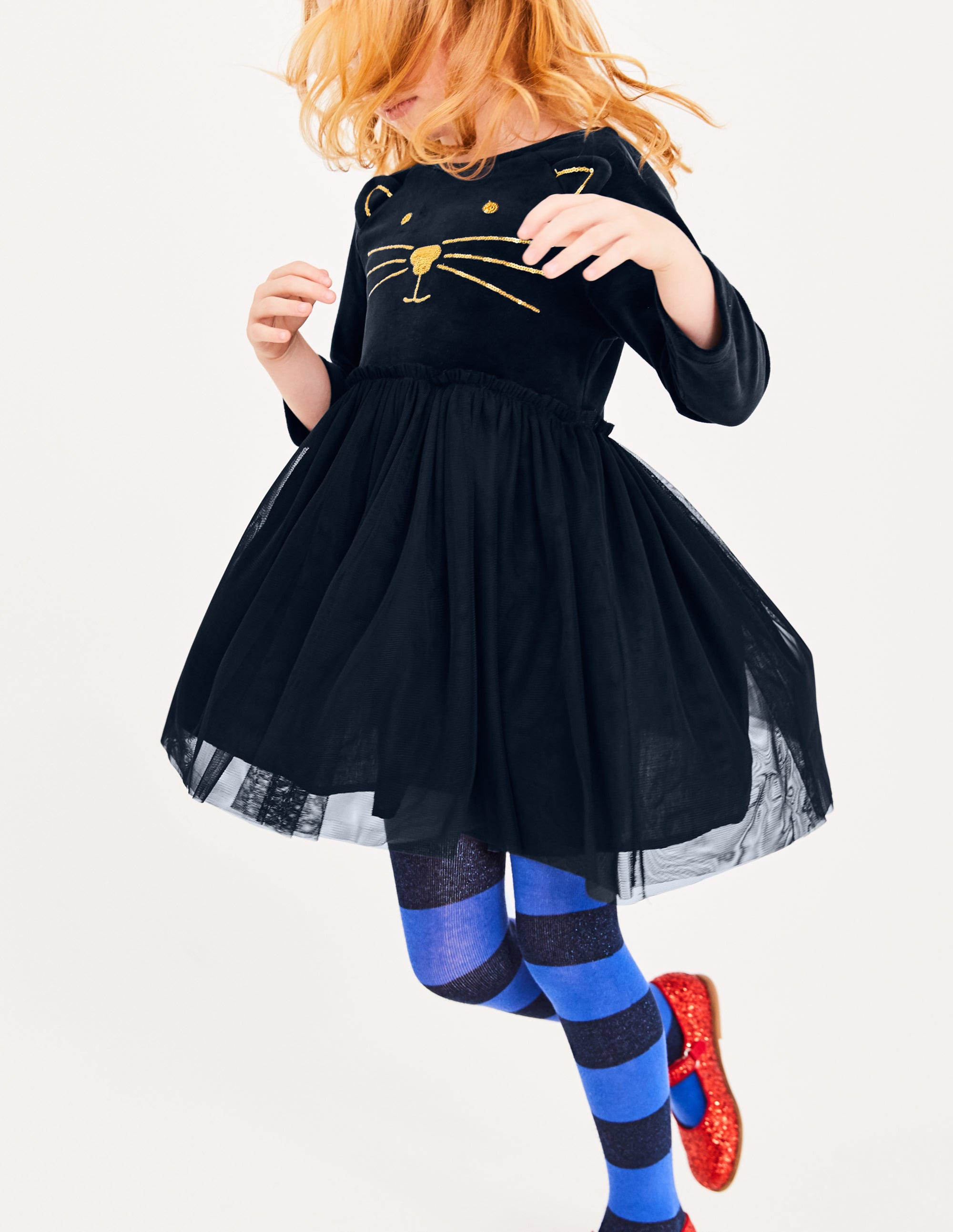 ce0b625ed1c4 Velvet Novelty Dress - Midnight Blue Cat | Boden US
